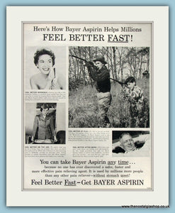 Bayer Asprin Original Advert 1955 (ref AD8275)