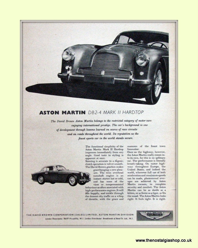 Aston Martin DB2-4 Mark II Hardtop Original Advert 1956 (ref AD6697)