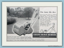 Load image into Gallery viewer, Greens Motor Mowers. Set of 2 Original Adverts 1950s (ref AD4591)