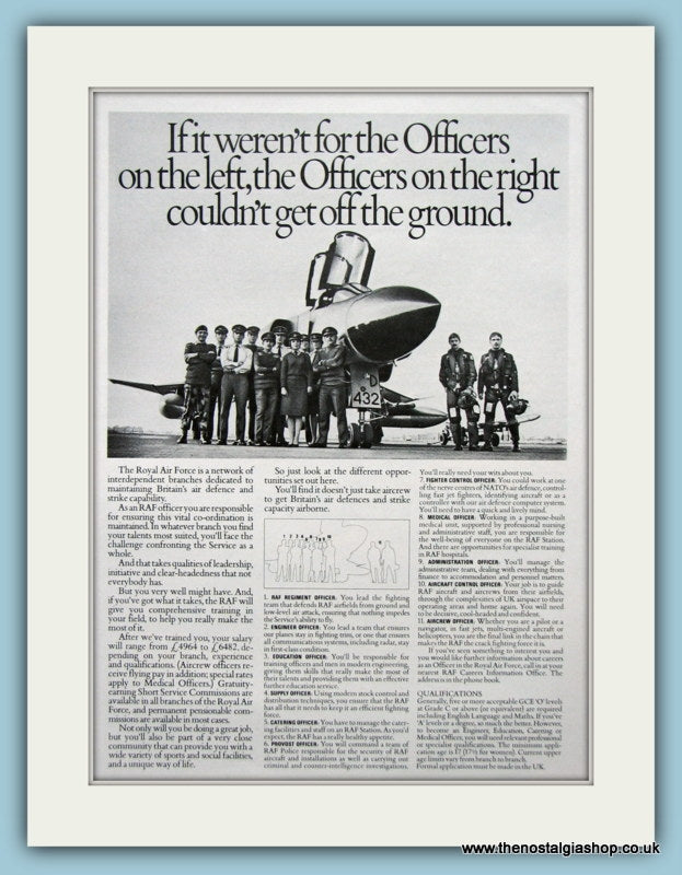 R.A.F Officers Original Advert 1981 (ref AD6288)