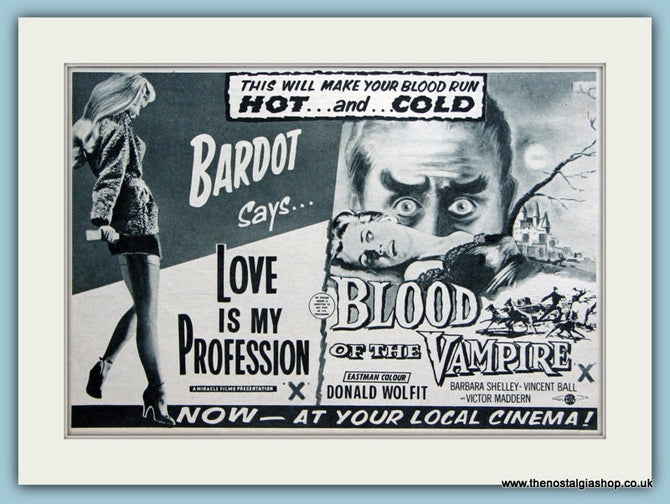 Love Is My Profession starring Brigitte Bardot, 1958 Original Advert (ref AD3236)