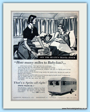 Sprite Major Mk 4 Caravan Original Advert 1956 (ref AD6362)