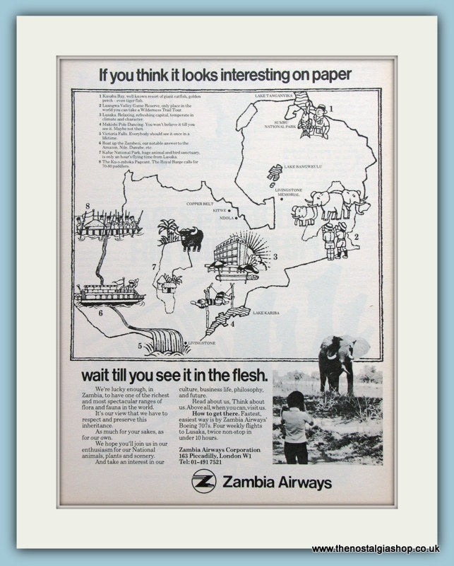 Zambia Airways Original Advert 1976 (ref AD2183)