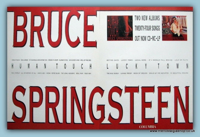 Bruce Springsteen Human Touch & Lucky Town Double Original Music Advert 1992 (ref AD3506)