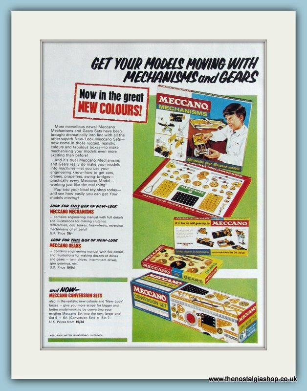 Meccano Model Sets Set of 2 1966 Original Adverts (ref AD2860)