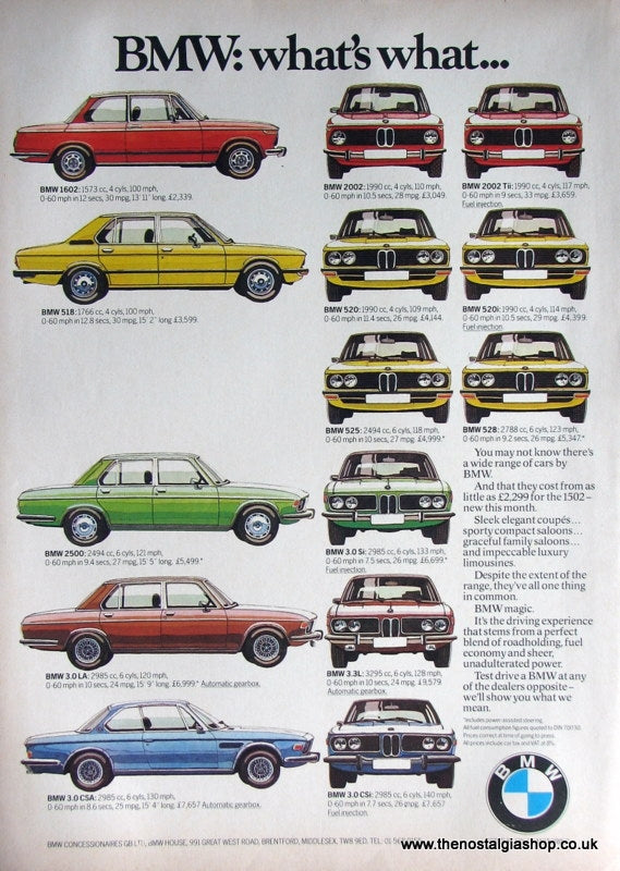 BMW Car Range 1975 Original Advert (ref AD1643)