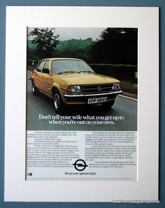 Opel Ascona Original Advert 1977 (ref AD1400)