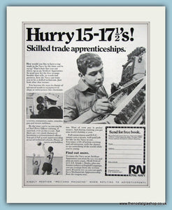 Royal Navy Apprenticeships. Set of 2 Original Adverts 1969 (ref AD6062)