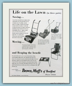 Lawnmowers, Brown, Muff's of Bradford. Original Advert 1958 (ref AD4612)