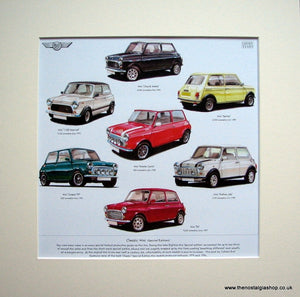 Mini Classic Cars (Special Editions). Mounted Print.