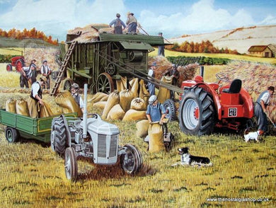 Autumn Threshing Tractor Print (ref N109)