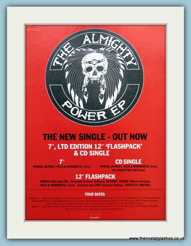The Almighty Power EP 1989 Original Advert (ref AD3144)