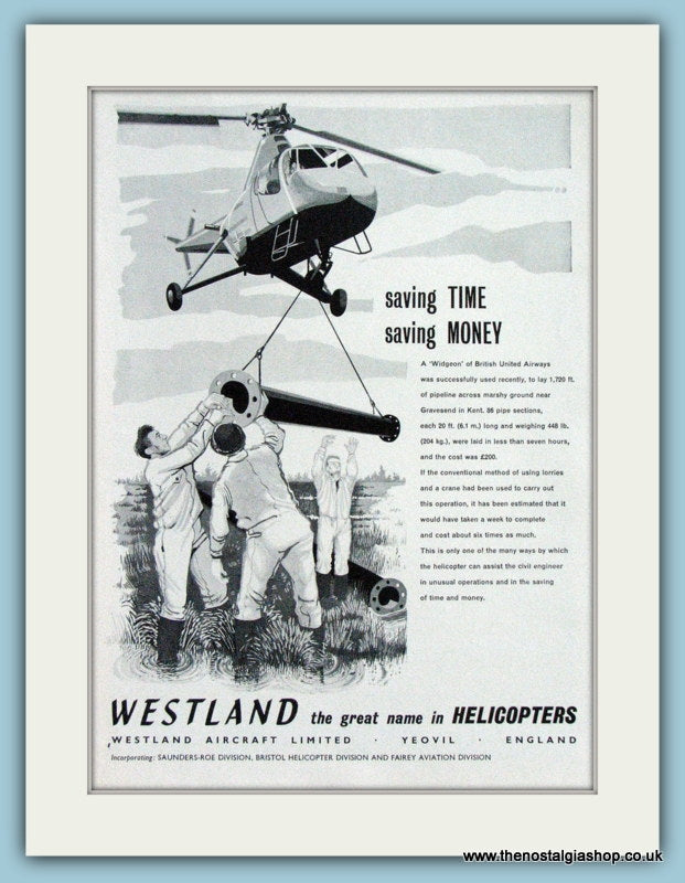 Widgeon Westland Helicopters 1961 Original Advert (ref AD4265)