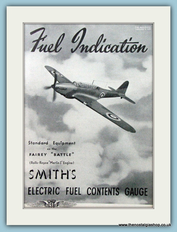 Fairey Battle uses Smith's Guages. Original Advert 1938 (ref AD4203)
