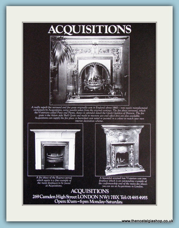 Acquisitions Fire Places Original Advert 1978 (ref AD3852)