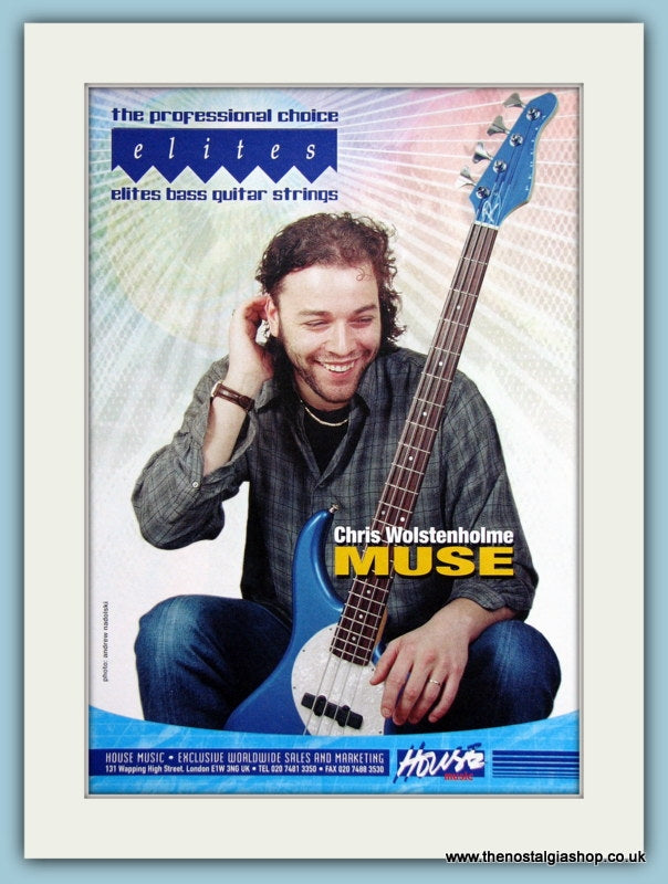 Elites Bass Guitar Strings With Chris Wolstenholme Original Advert 2002 (ref AD2749)