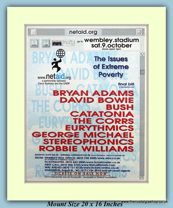 Wembley Stadium Poverty Concert 1999 Original Advert (ref AD9056)