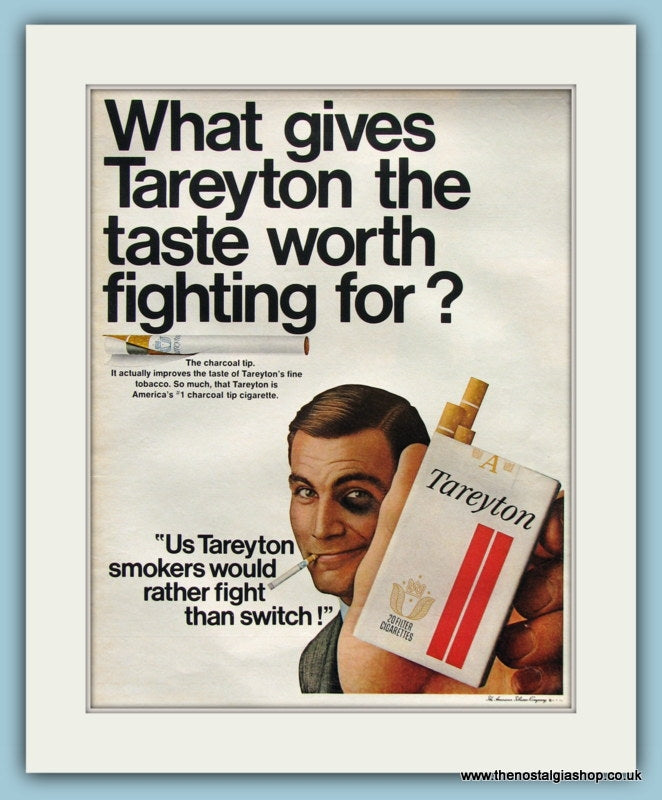 Tareyton Cigarettes Original Advert 1967 (ref AD8214)