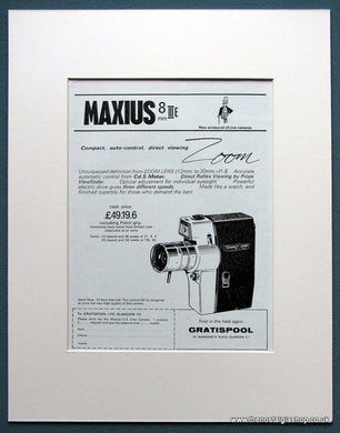 Maxius 8 III E Compact Zoom Camera. Original advert 1963 (ref AD1063)