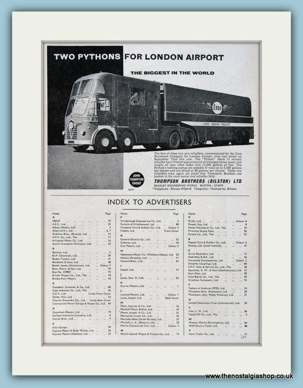 Esso Thompson Brothers Trucks Original Advert 1960 (ref AD2953)