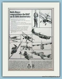 Rolls Royce Congratulates The R.A.F Original Advert 1968 (ref AD6281)
