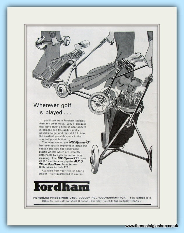 Fordham Golf Trolley. Original Advert 1961 (ref AD4965)