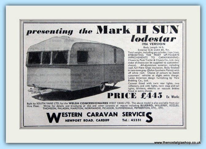 Mark II Sun Lodestar Caravan Original Advert 1955 (ref AD6320)