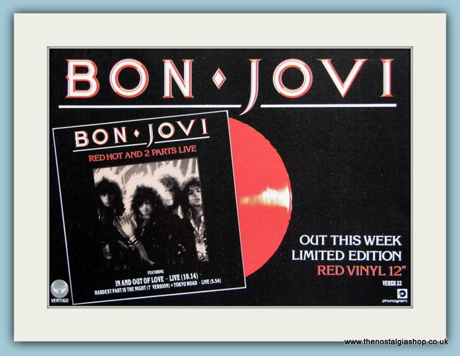 Bon Jovi. Red Hot. Original Advert 1985 (ref AD1964)
