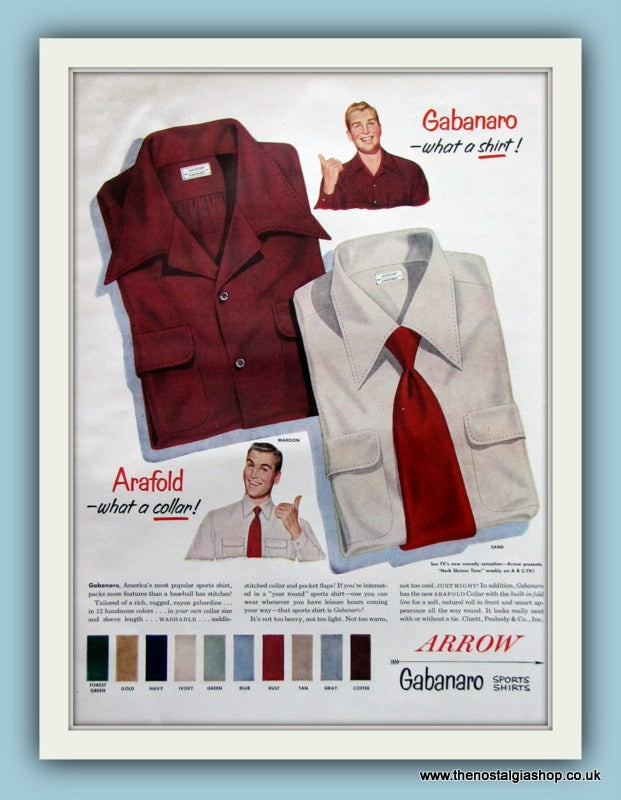 Arrow Gabanaro Shirts Original Advert 1952 (ref AD8178)