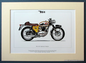 BSA A65 Lightning Clubman Mounted Motorcycle Print (ref PR3041)