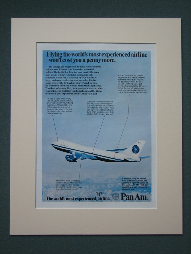 Pan Am Airlines 1974 Original advert (ref AD806)