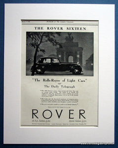 Rover Sixteen 1938 Original Advert (ref AD 1630)