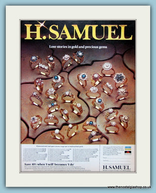 H.Samuel Jewellers Set Of 2 Original Adverts 1967 & 1976 (ref AD6255)