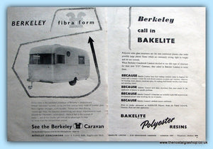 Fibra Form & Bakelite Polyester Berkeley Caravan Original Adverts 1955 (ref AD6369)