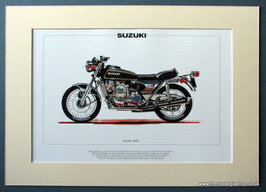 Suzuki RE5 Mounted Motorcycle Print (ref PR3024)