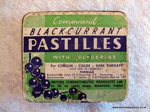 Compound Blackcurrant Pastilles. Vintage Tin (ref nos039)