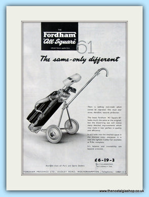Fordham All Square Golf Cart. Original Advert 1961 (ref AD4966)