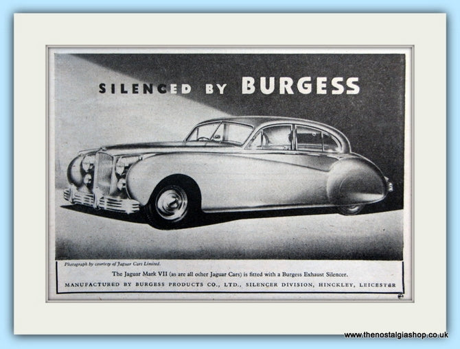 Burgess Jaguar Mark VII Silencer Exhaust Original Advert 1952 (ref AD5056)