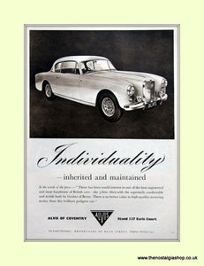 Alvis Three Litre. 1956 Original Advert (ref AD6647)