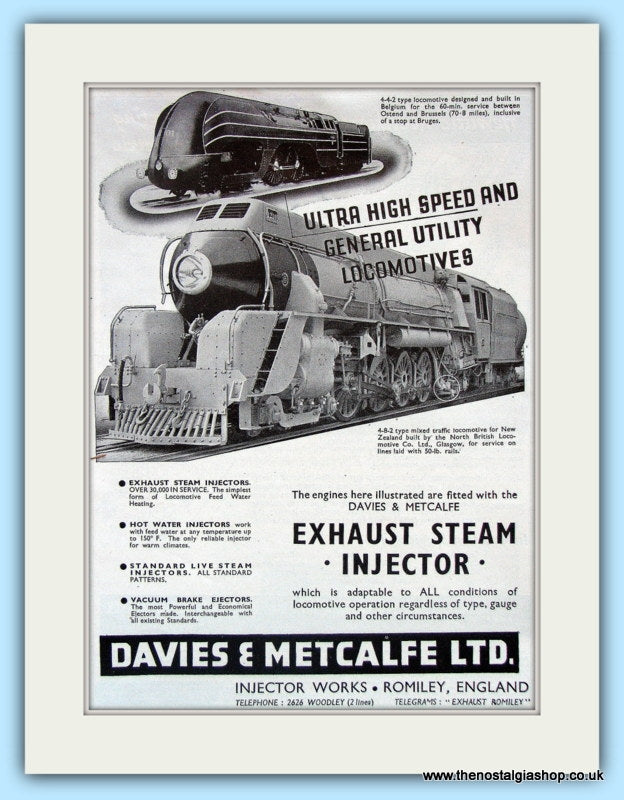 Steam Injectors for Locomotives. Original Advert 1951 (ref AD6212)