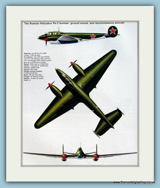 Russian Petlyakov Pe-2 Bomber, Ground Attack Aircraft. Print (ref PR582)