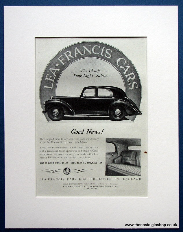 Lea-Francis Cars 14 h.p 1952 original Advert (ref AD1690)