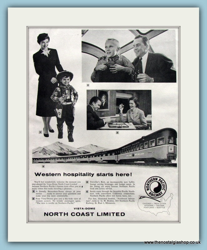 Northern Pacific Railway Original Advert 1957 (ref AD8241)