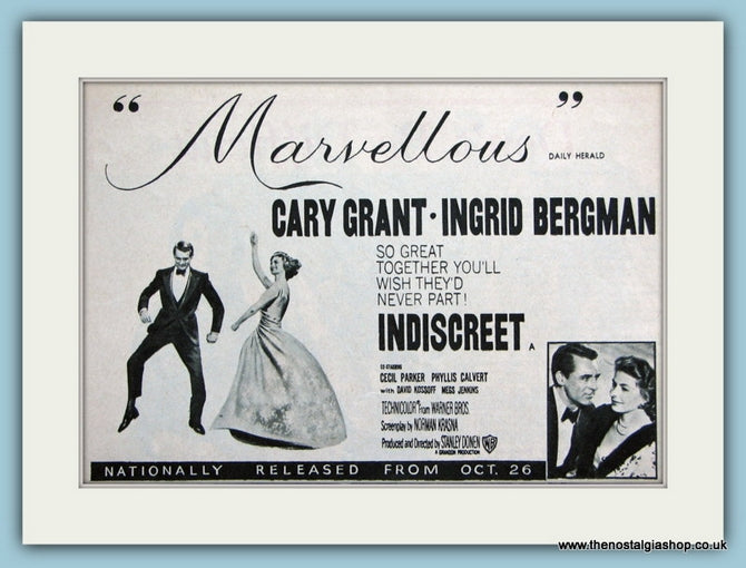 Indiscreet, 1958 Original Advert starring Cary Grant (ref AD3194)