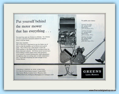 Greens Lawn Mowers. Original Advert 1960 (ref AD4643)