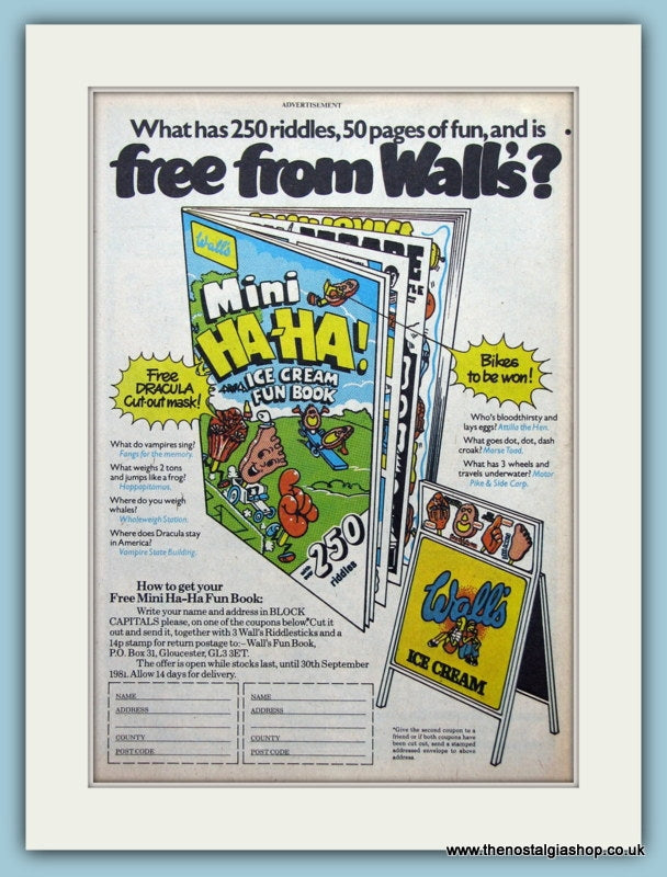 Wall's Ice Cream Fun Book Original Advert 1987 (ref AD2626)