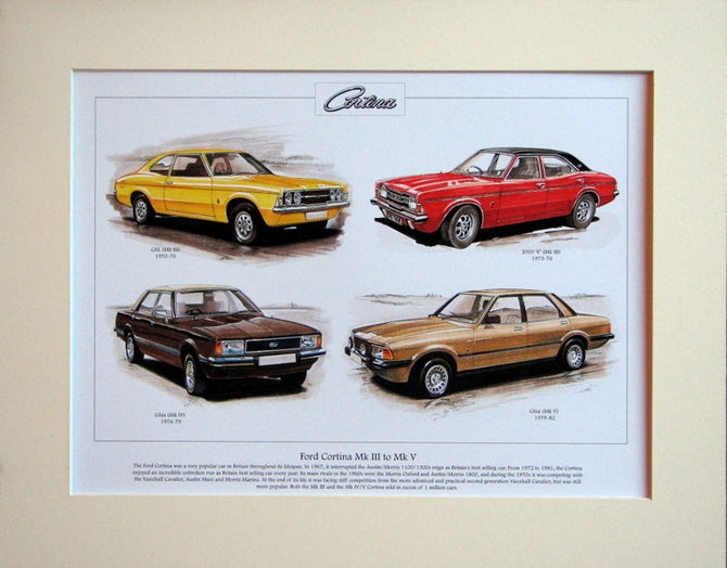Ford Cortina Mk III to Mk V  Mounted print