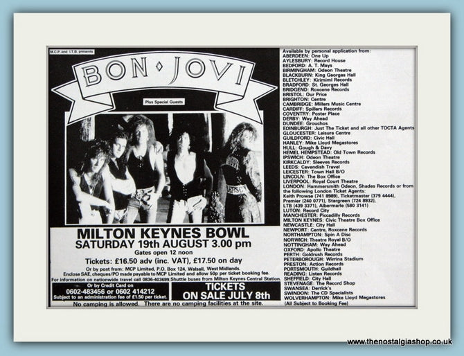 Bon Jovi Tour Dates 1989 Original Advert (ref AD3258)