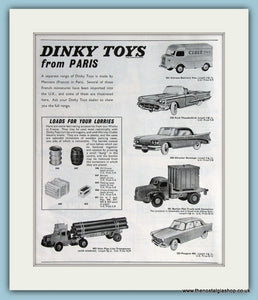 Dinky Toys from Paris. 2 x Original Adverts 1962 (ref AD2825)