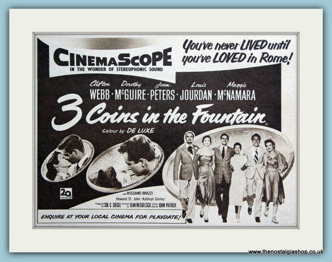 3 Coins In The Fountain 1954 Original Film Advert (ref AD3332)